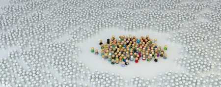 faction: Large crowd of small symbolic 3d figures, over white