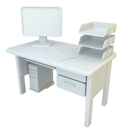 workstations: PC desk 3d model, over white, isolated