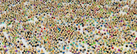 factions: Large crowd of small symbolic 3d figures, over white