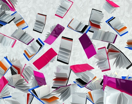 Falling book abstract background 3d rendering, horizontal Stock Photo