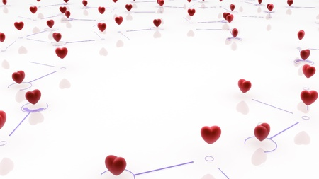 small group: Small linked red hearts, 3d abstract, horizontal Stock Photo