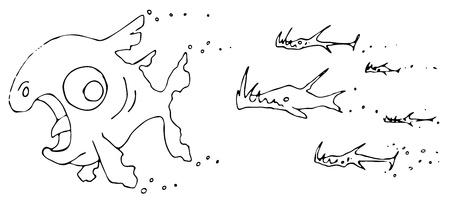 Small predator fish chasing bigger prey cartoon, over white, isolated Stock Vector - 14133604