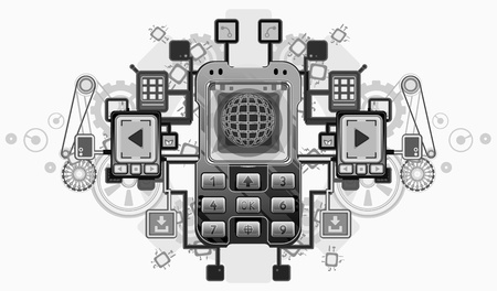 dialing: Mobile device crest design, over white, isolated   Illustration