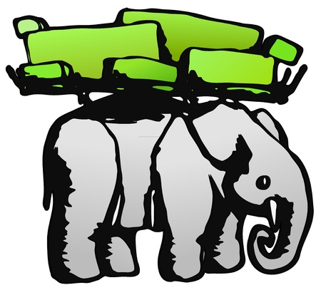 heavy load: Elephant load ink design vector, over white, isolated