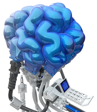 Wired brain 3d model, over white, isolated 写真素材