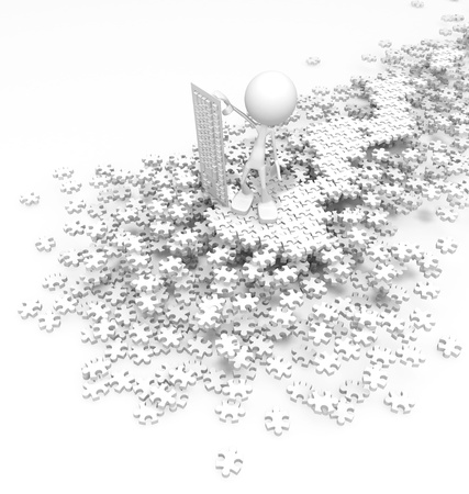 Figure standing over jigsaw pile 3d, over white, isolated photo