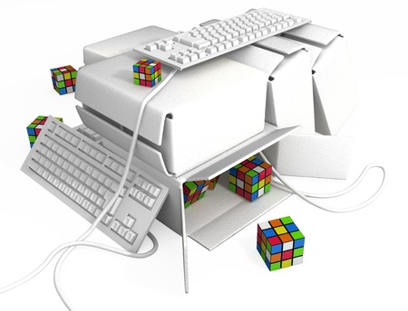 Computer keyboard boxes 3d, over white, isolated