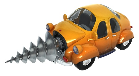 odd: Cartoon car with a drill mechanism in front, 3d