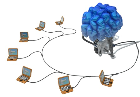 ingenuity: Wired brain 3d model, over white, isolated Stock Photo