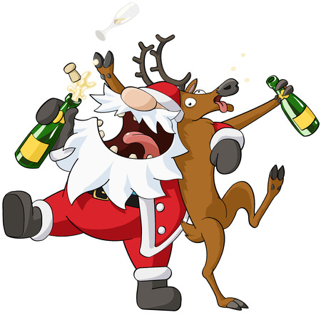 Christmas party celebration humorous cartoon, vector, isolated