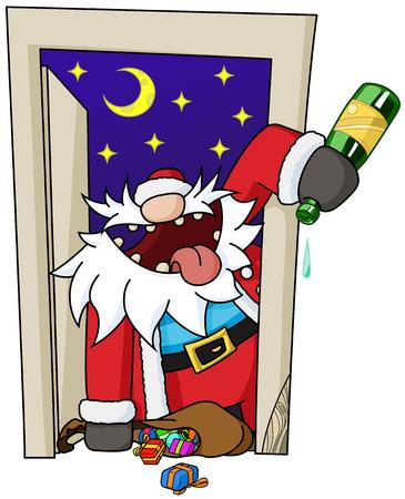cartoon party: Christmas party celebration humorous cartoon, vector, isolated
