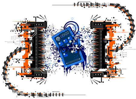 crushing: Mobile phone device crushed by press, symbolic abstract cartoon  Illustration
