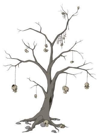 macabre: Skull tree cartoon, vector, horizontal, over white,  isolated   Illustration