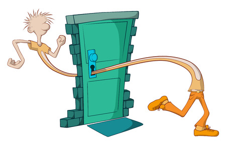 loophole: Guy walking through door keyhole cartoon, vector, horizontal,  isolated