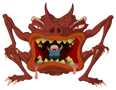 hellish: Cannibal monster cartoon, vector, horizontal, over white,  isolated   Illustration