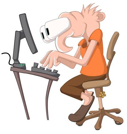 Computer geek cartoon, vector, horizontal, over white,  isolated   Illustration