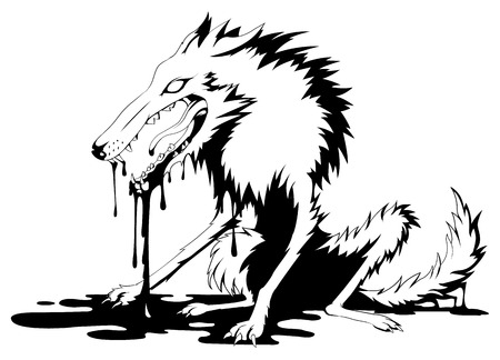 black wolf: Bloody wolf black and white Illustration