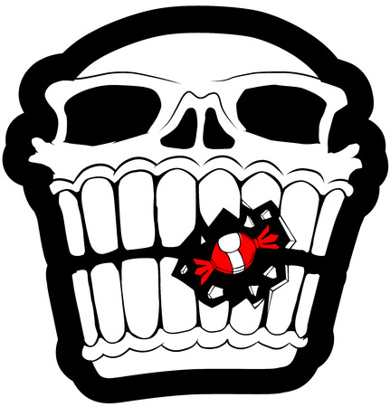 Skull black and white with red candy  Vector