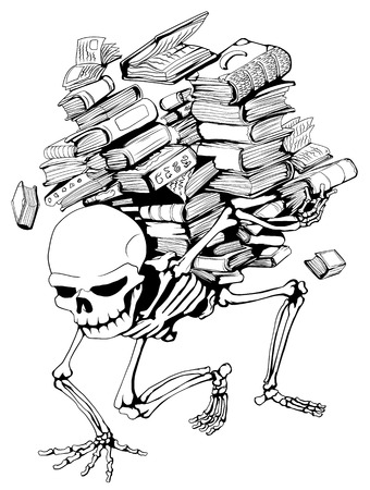 Skeleton holding pile of books Vector