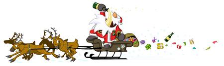 weihnachtsmann lustig: Weihnachtsparty feiern humorvolle Comic, Vektor, isoliert