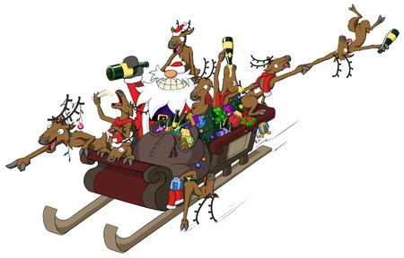 weihnachtsmann lustig: Weihnachtsparty feiern humorvolle Comic, Rentierschlittenfahrt
