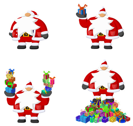 christmas element: Christmas celebration cartoon design element set, Santa Claus with gifts, isolated vector