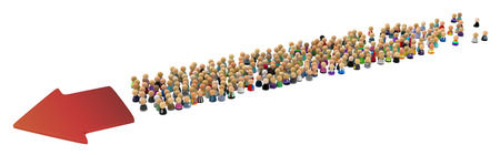 intent: Large crowd of small symbolic 3d figures, with arrow, over white