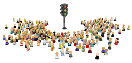 community people: Large crowd of small symbolic 3d figures, with traffic light, over white