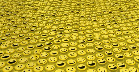 optimismo: icono de la cara feliz fondo amarillo, muchos objetos 3d, horizontal