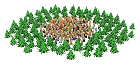 tree  forest: Large crowd of small symbolic 3d figures, with fir forest, over white