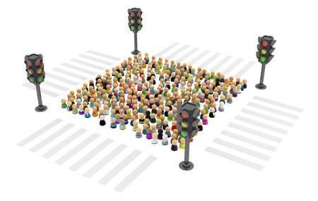 over white: Large crowd of small symbolic 3d figures, with traffic light, over white