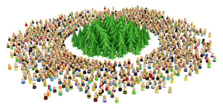 community garden: Large crowd of small symbolic 3d figures, with fir forest, over white
