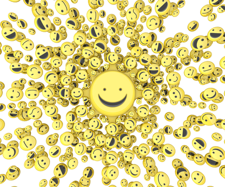 small group of objects: Happy face small icon 3d objects, horizontal, over white