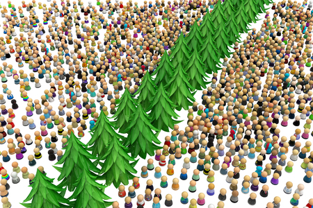 over white: Large crowd of small symbolic 3d figures, with trees, over white Stock Photo