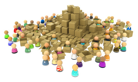over white: Crowd of small symbolic 3d figures, with cardboard boxes, over white