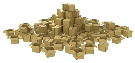 multiple objects: Cardboard box pile abstract, 3d, horizontal, over white Stock Photo