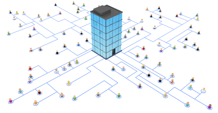 enterprise: Crowd of small symbolic 3d figures linked by lines, isolated