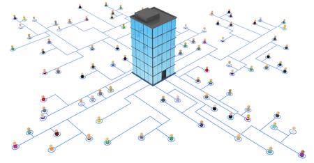Folla di piccole figure simboliche 3d collegati da linee, isolato