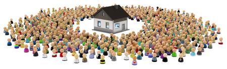 Menigte van kleine symbolische 3d cijfers, met huis, over wit Stockfoto