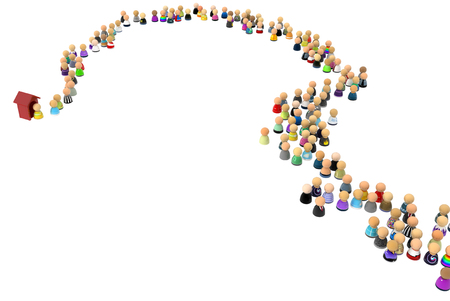 Crowd of small symbolic 3d figures, with booth, over white Stock Photo