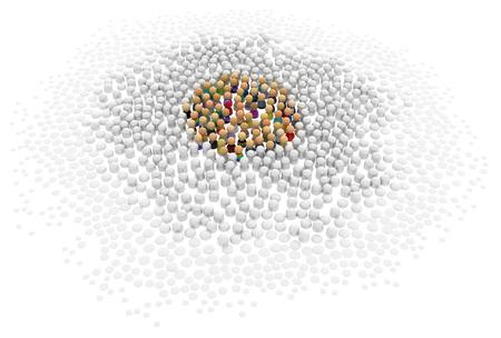 sociedade: Multidão de figuras 3d simbólicas pequenas colorir centro, sobre o branco Banco de Imagens