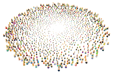 symbolic: Crowd of small symbolic 3d figures, over white