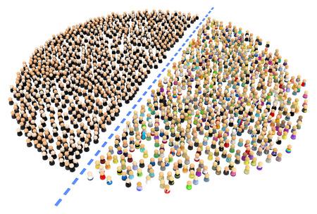 población: Multitud de pequeñas figuras 3d simbólicas, sobre blanco  Foto de archivo