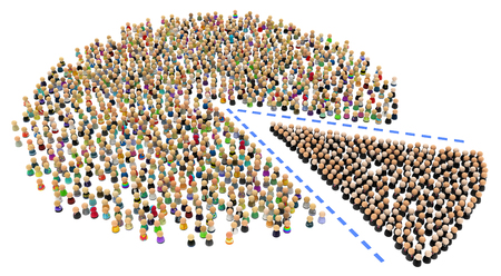 division: Crowd of small symbolic 3d figures, over white