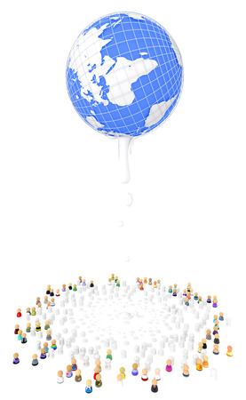 colorize: Crowd of small symbolic 3d figures, dropping from globe, isolated Stock Photo