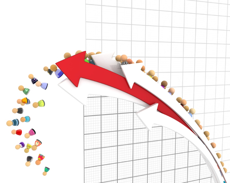 over white: Crowd of small symbolic 3d figures, falling from line graph, over white