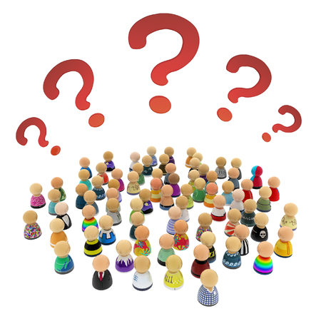 uncertain: Crowd of small symbolic 3d figures, with question marks, over white