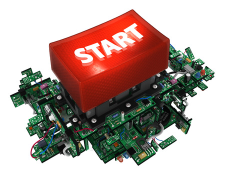 electronic elements: Big red start button, with electronic circuit elements, isolated