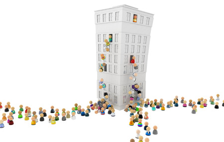 Crowd of small symbolic 3d figures, falling from building, over white Stock Photo
