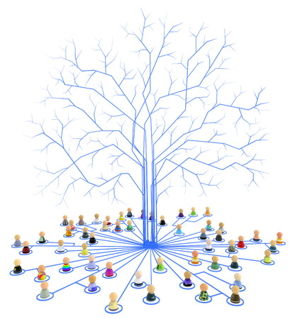 root: Crowd of small symbolic figures linked by lines, isolated, over white, 3d illustration Stock Photo
